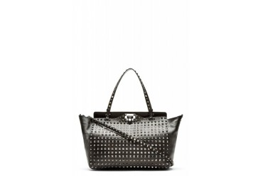 Valentino Black Leather Full Face Rockstud Tote