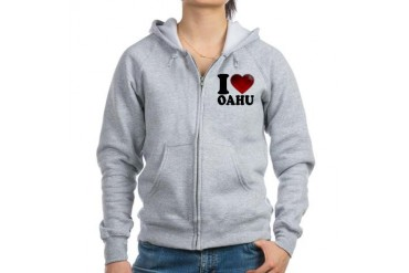 I Heart Oahu Love Women's Zip Hoodie by CafePress