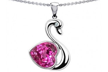 Star K Love Swan Pendant 8mm Heart Shape Created Pink Sapphire