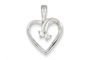 Sterling Silver Cubic Zirconia Heart Pendant Chain Included