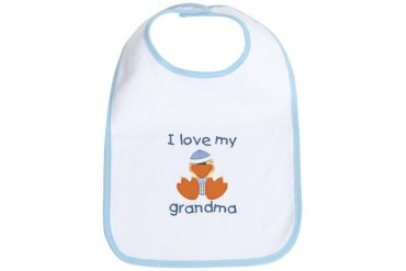 I love my grandma baby boy ducky Baby Bib by CafePress