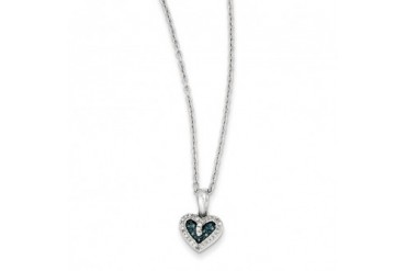 1 10 Ctw Blue amp White Diamond 9mm Heart Necklace in Sterling Silver