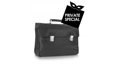 Polo - Black Double Gusset Nappa Leather Briefcase