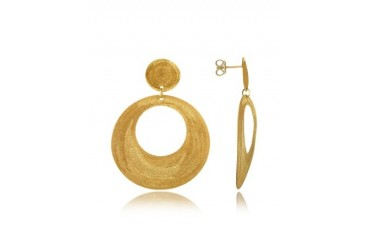 Golden Silver Etched Round Cut Out Drop Earrings
