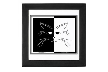 black amp; white cat art keepsake box Art Keepsake Box by CafePress