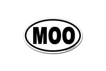 MOO Euro Style Oval Sticker for Cow Lovers Animals Sticker Oval by CafePress