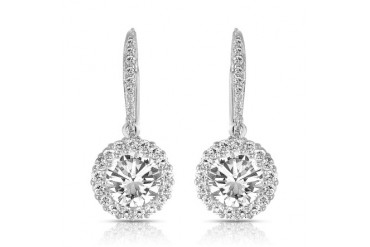 C.Z. Sterling Silver Rhodium Plated Round Drop Euro Earrings