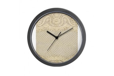 Vintage Yellow Lace Vintage Wall Clock by CafePress