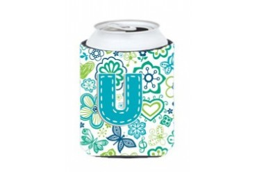 Letter Flowers and Butterflies Teal Blue Beverage Insulators Multiple sizes