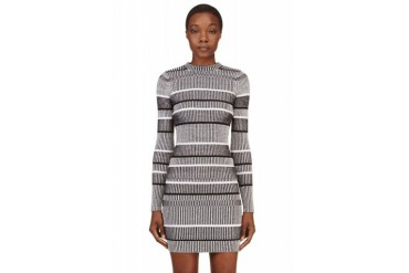 T By Alexander Wang Black Ribbed And Striped Sweater