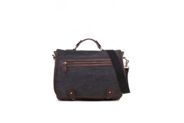EZRA by ZALORA Canvas Satchel With Leather Trim