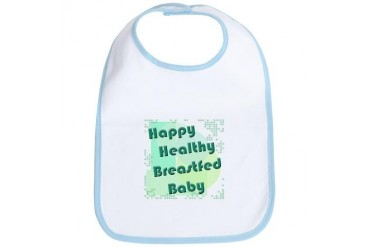 Happy Healthy Breastfed Baby Baby Bib by CafePress