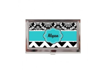 Blue Black Damask Chevron Business Card Case
