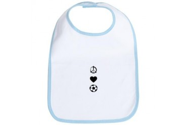 Peace, Love, Soccer Sports Bib by CafePress