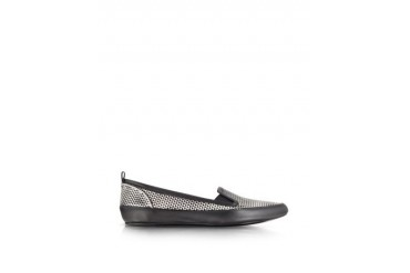 Black and White Optical Print Leather Loafer