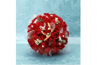 Romantic Round Satin Bridal Bouquets (123032447)