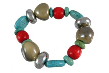 Lovely Glass, Wood amp Turquoise Bead Stretch Bracelet