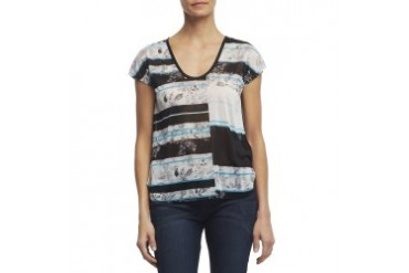 Short-Sleeve Mixed-Print T-Shirt