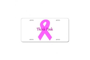 Breast cancer awareness think pink ribbon large.p Breast cancer Aluminum License Plate by CafePress