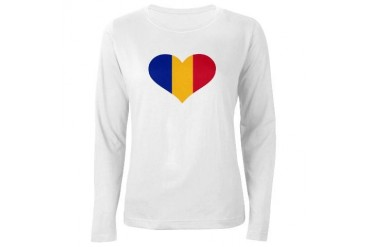 Romania flag heart Flag Women's Long Sleeve T-Shirt by CafePress