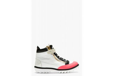 Giuseppe Zanotti White And Pink Leather Blitz Hi Top Sneakers