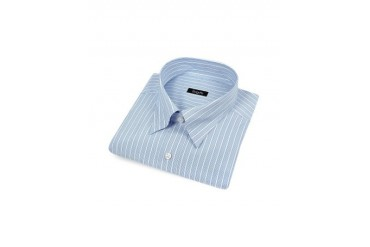 White & Blue Striped Snap Collar Italian Cotton Dress Shirt