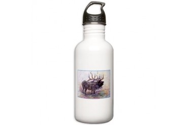 Elk Wildlfie art Art Stainless Water Bottle 1.0L by CafePress