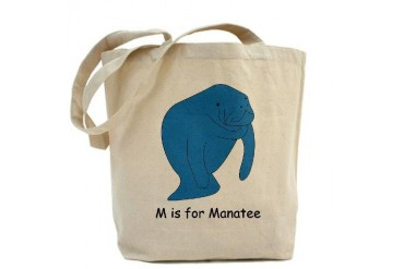 M is for Manatee Manatee Tote Bag by CafePress