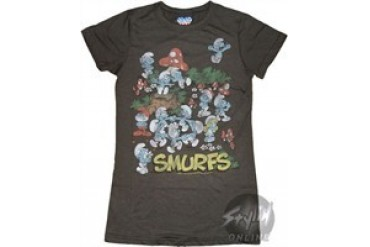 Smurfs Group Logo Black Baby Doll Tee by JUNK FOOD