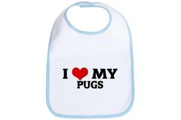 I Love My Pugs Pets Bib by CafePress