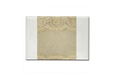 Vintage Yellow Lace Vintage Rectangle Magnet by CafePress