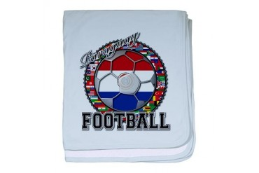 Paraguay Flag World Cup Football Ball with World F Flag baby blanket by CafePress