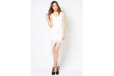 Material Girl Asymmetrical Laced Tank Dress