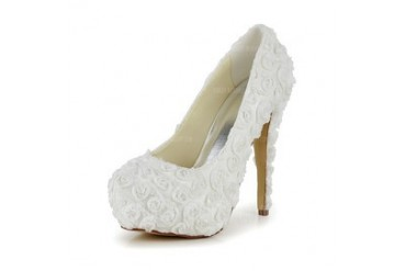 Women's Satin Stiletto Heel Closed Toe Pumps With Flower (047048529)
