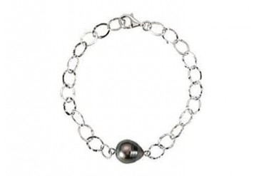 Inch Tahitian Cultured Pearl Bracelet in Black Rhodium over Sterling Silver