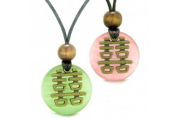 Double Happiness Love Couples Yin Yang Amulet Green Pink Cats Eye Necklaces