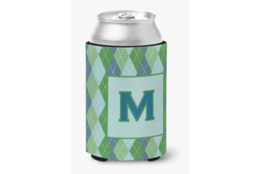 Letter M Initial Monogram - Blue Argoyle Can or Bottle Beverage Insulator H