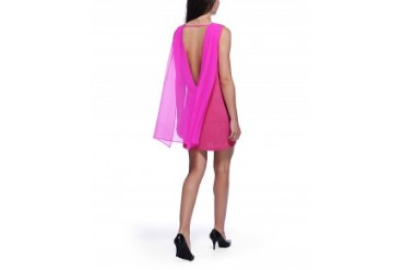 Aryn K Plunge Back Shift Dress Magenta, L
