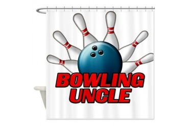 Bowling Uncle pins.png Bowling Shower Curtain by CafePress