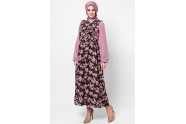 Silkaclothing Night Cherry Blossom Maxi Dress