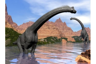 Two Brachiosaurus dinosaurs in water next to red rock mountains.