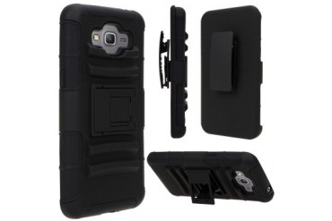 Samsung Galaxy Grand Prime SM-G530 Armor Belt Clip Holster Case Cover Black