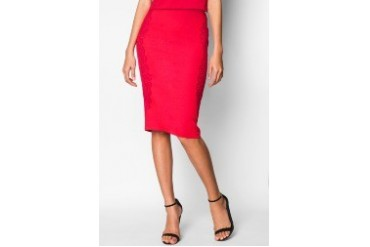 Lace Trim Midi Pencil Skirt
