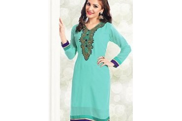 Charming Turquoise Georgette Kurti