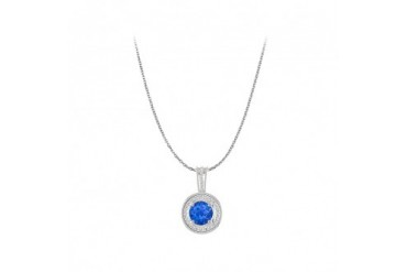 Round Sapphire and CZ Pendant White Gold Free Chain