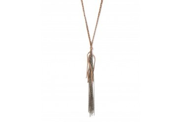 Buju Malibu Chain Fringe on Braided Leather Necklace Taupe