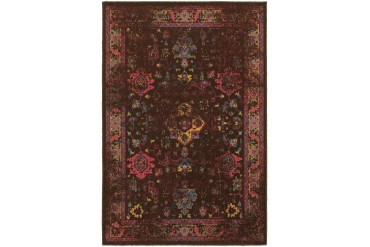 Sphinx Revival Traditional-Persian Oriental Brown Floral Vines Area Rug