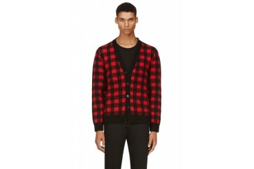 Saint Laurent Red And Black Check Wool Cardigan