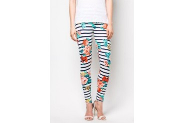 CLUB ZEN Floral Printed Leggings with Horizontal Stripes