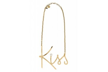 Lanvin Gold And Crystal Kiss Necklace